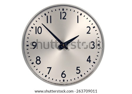 Old Industrial Wall Clock On White Background
