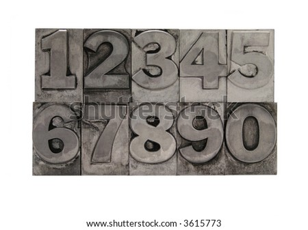 old, inkstained numbers in letterpress lead type - stock photo