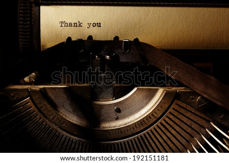 old inscription on a typewriter - stock photo