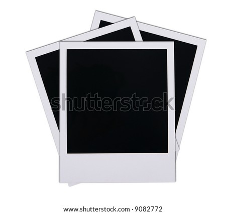 Old instant photo film blanks isolated on white background - stock photo