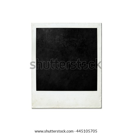 old instant photo frame on white background vintage photo picture frame