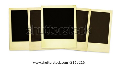 Old instant photos (with clipping paths for easy framing your pictures and background removing if needed) - stock photo