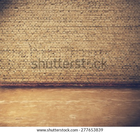 old interior, brick wall, retro filtered, instagram style - stock photo