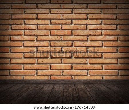 Old interior room with brick wall  - stock photo