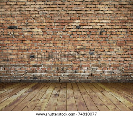 old interior with brick wall, vintage background - stock photo