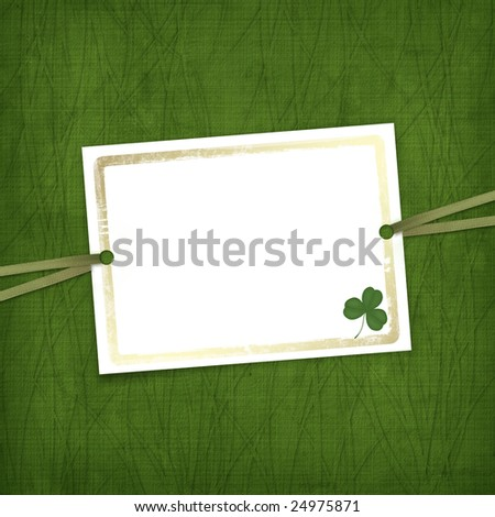 Old invitation for holiday with ribbons on the grunge background - stock photo