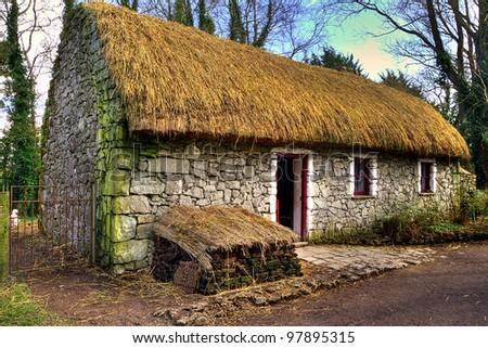 Old Irish cottage house - stock photo