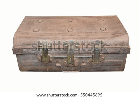 Old iron coffer on white background