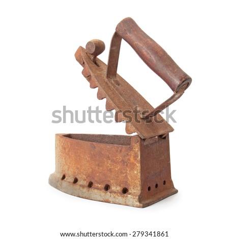 old iron, cordless working on coals isolated on white background - stock photo