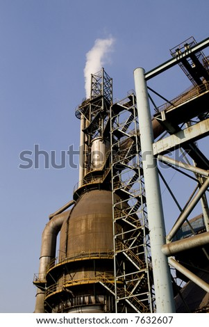 OLD IRON FACTORY DETAIL - stock photo