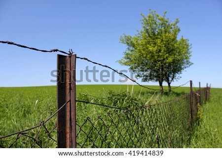 Old iron fence in focus, rusty barbed wire, grassy field, trees and blue sky as background