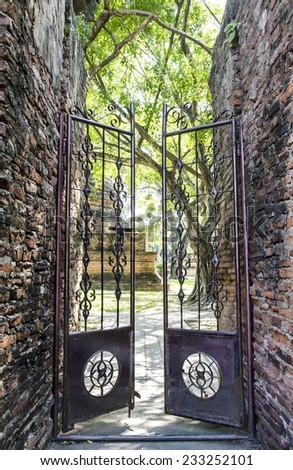 Old iron gate - stock photo