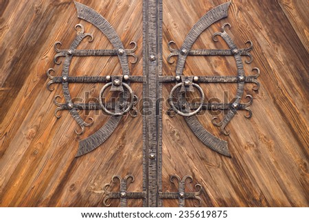 old iron gate in front of a house in Bali - stock photo
