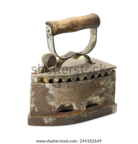 old iron isolated on a white background - stock photo