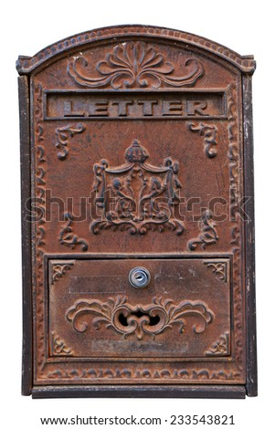 Old iron-made letter box isolated on white with clipping path - stock photo