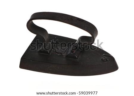 Old iron on a white background - stock photo