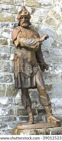 old iron statue in Pelesh castle, Sinaia, Romania - stock photo
