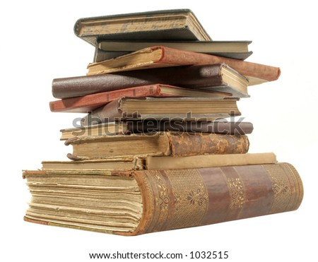 old isolated books with path - stock photo