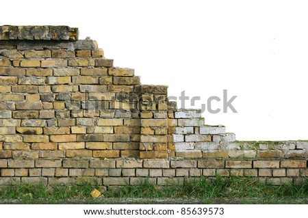 Old isolated broken wall with lot of copy space for designers - stock photo