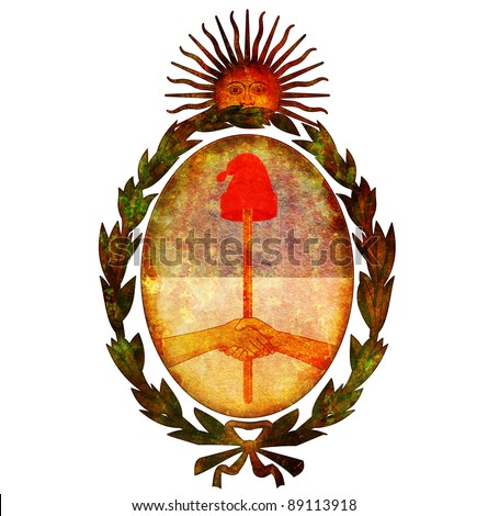 old isolated over white coat of arms of argentina - stock photo