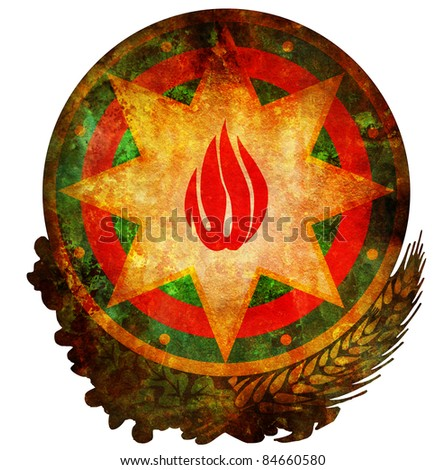 old isolated over white coat of arms of azerbaijan - stock photo