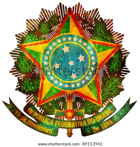 old isolated over white coat of arms of brazil - stock photo