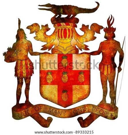 old isolated over white coat of arms of jamaica - stock photo