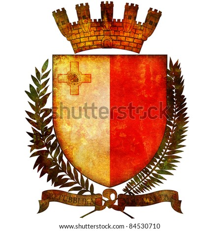old isolated over white coat of arms of malta