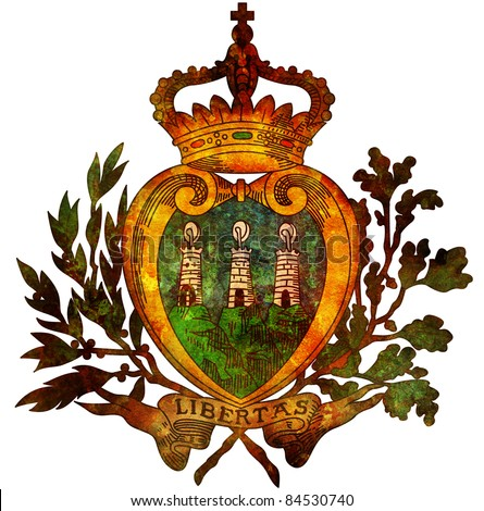 old isolated over white coat of arms of san marino
