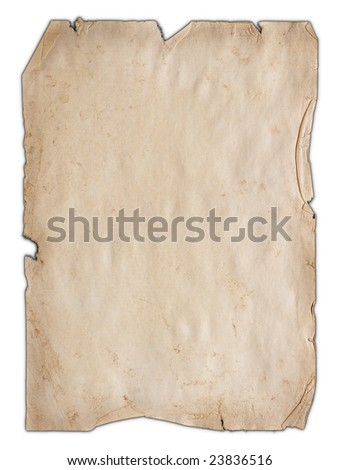 Old isolated paper - stock photo