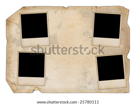 Old isolated paper with four blank photos