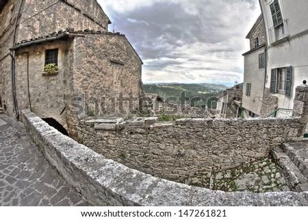 old italian buildings in HDR - fisheye lens photo. - stock photo