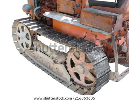 Old italian crawler tractor - stock photo