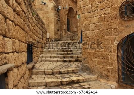 Old Jaffa street, Israel - stock photo