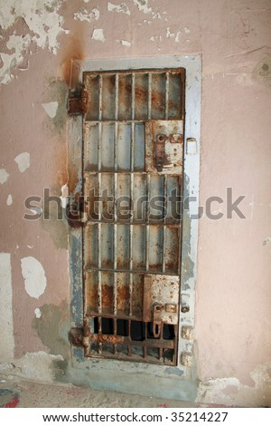 Old jail cell door at old Idaho state penitentiary near Boise - stock photo