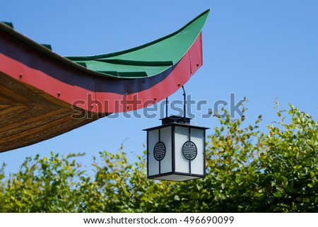 Old japanese lamp hanging on roof