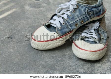 old jean sneaker - stock photo