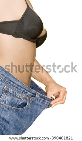 Old Jeans Pants After Weight Loss - stock photo