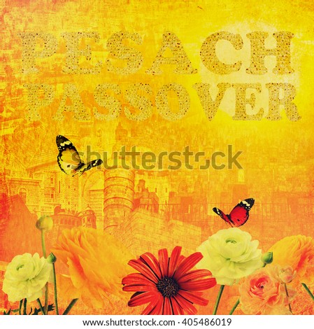 Old Jerusalem's historical appearance at gold sunlight background. Words Passover and Pesach made of Matzoh - traditional Jewish dry bread for Passover holiday. Jerusalem holiday abstract background - stock photo