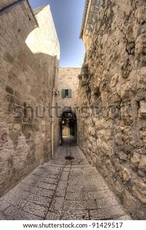 old jerusalem streets - stock photo