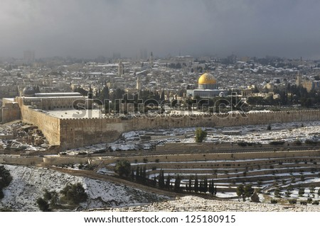old Jerusalem with rare snow - stock photo
