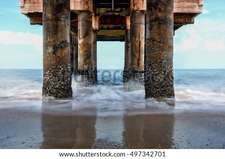 Old jetty structure made from solid concrete