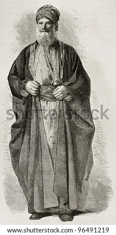 Old Jew from Babylonia. Created by Bayard after photo of unknown author, published on Le Tour du Monde, Paris, 1867 - stock photo