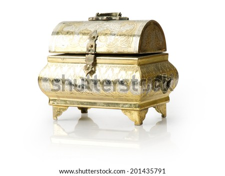old jewelery box isolated on a white background. - stock photo