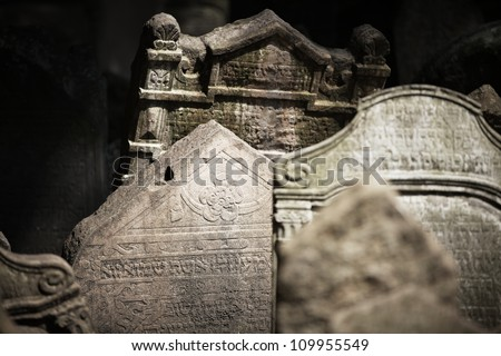 Old Jewish cemetery in Prague, Czech Republic, Europe - stock photo