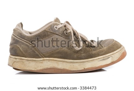 old jogging sneakers isolated on a white background - stock photo