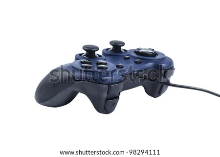 Old joystick is used for gaming on a white background - stock photo