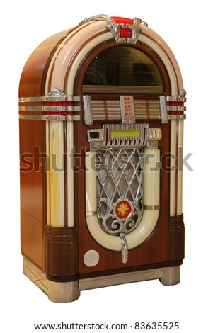 Old jukebox music player isolated on white background - stock photo