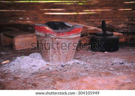 Old kettle and stove  - stock photo