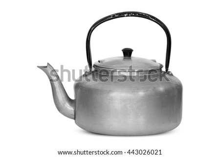 Old kettle isolated on white background